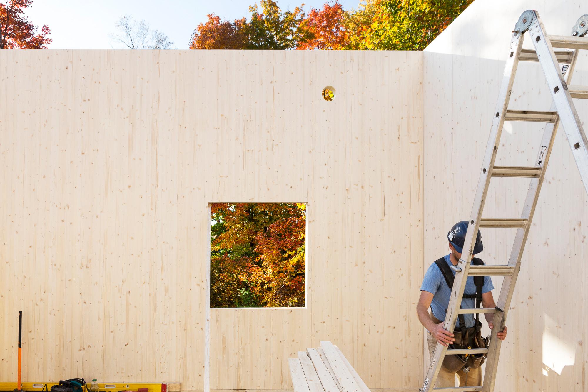 mur bois chantier construction travailleur échelle