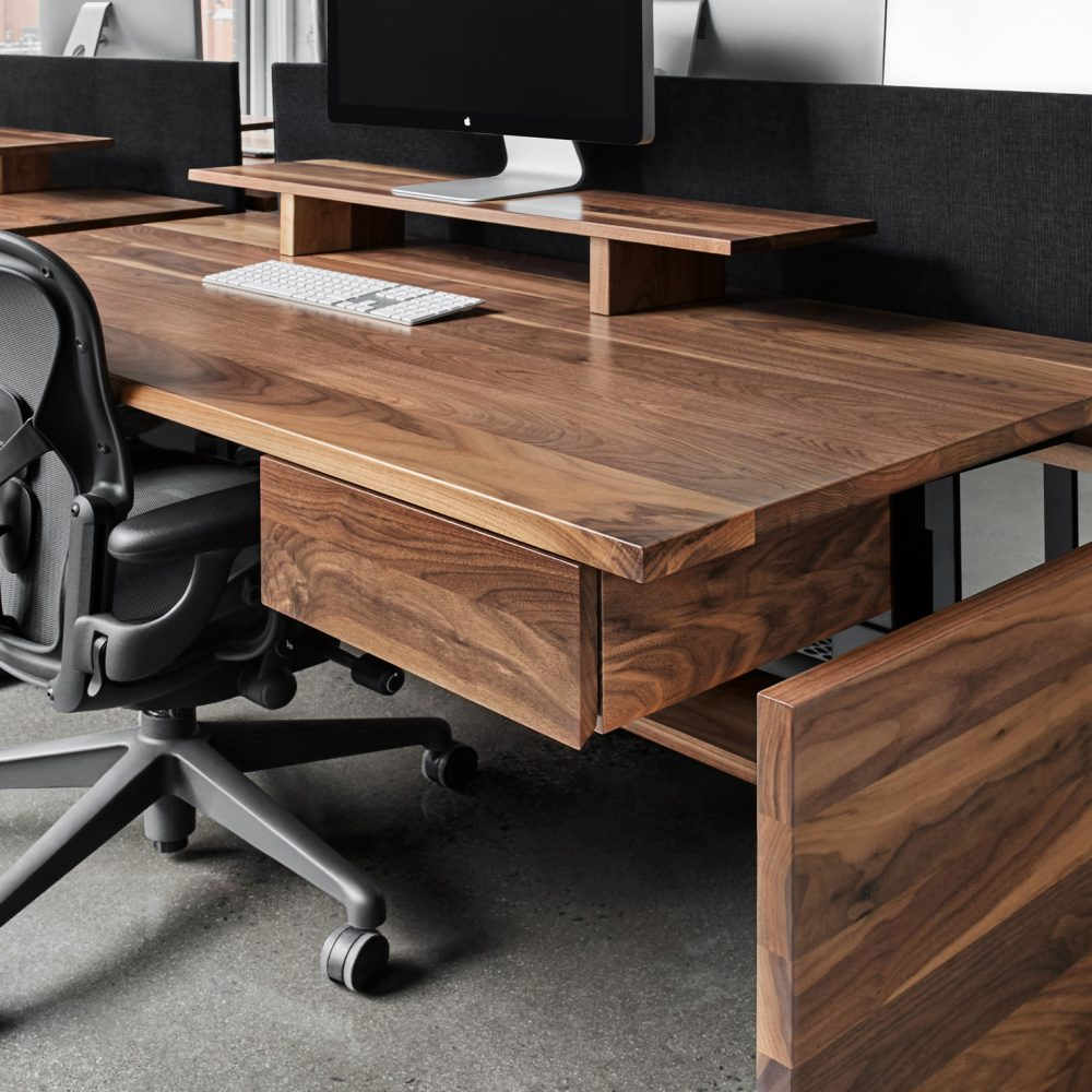 bureau travail noyer brun chaise grise