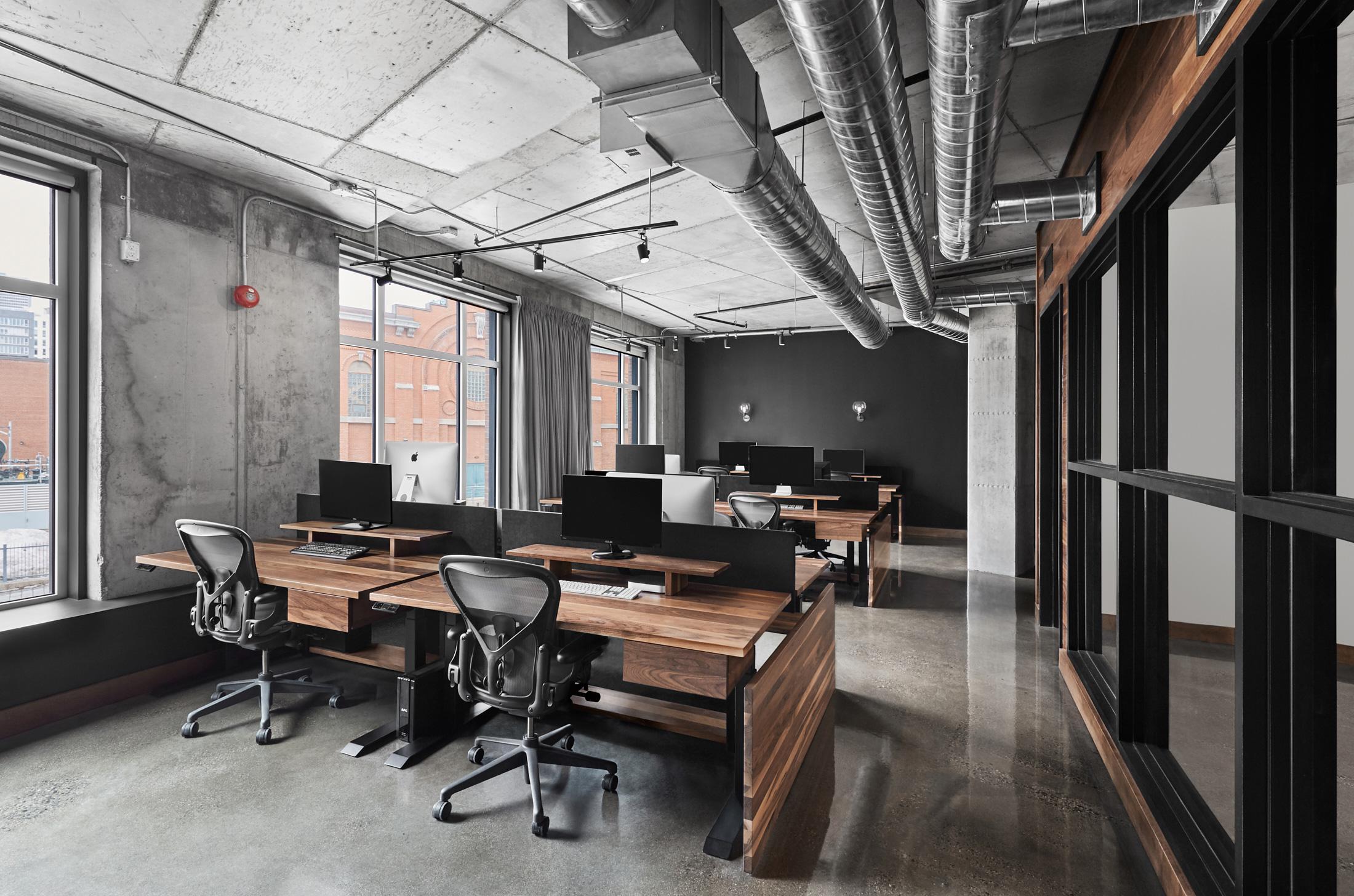 espace travail bureaux bois murs planchers béton
