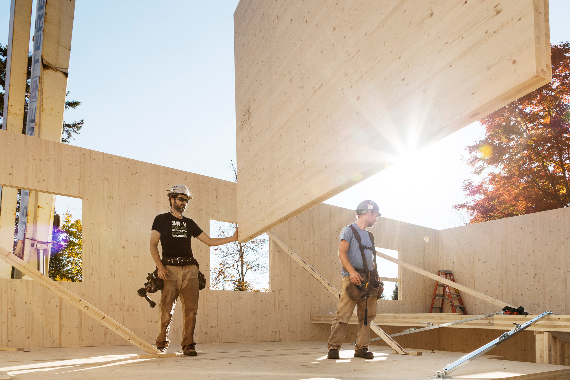 chantier travailleurs installation mur bois