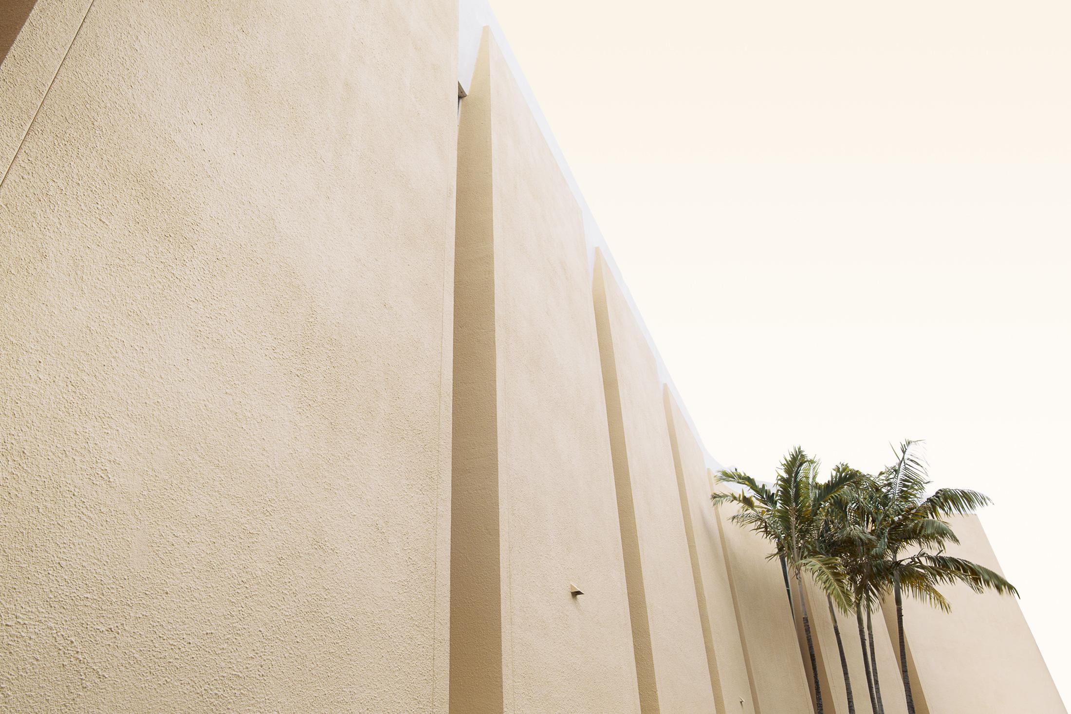 architecture mur église jaune palmiers