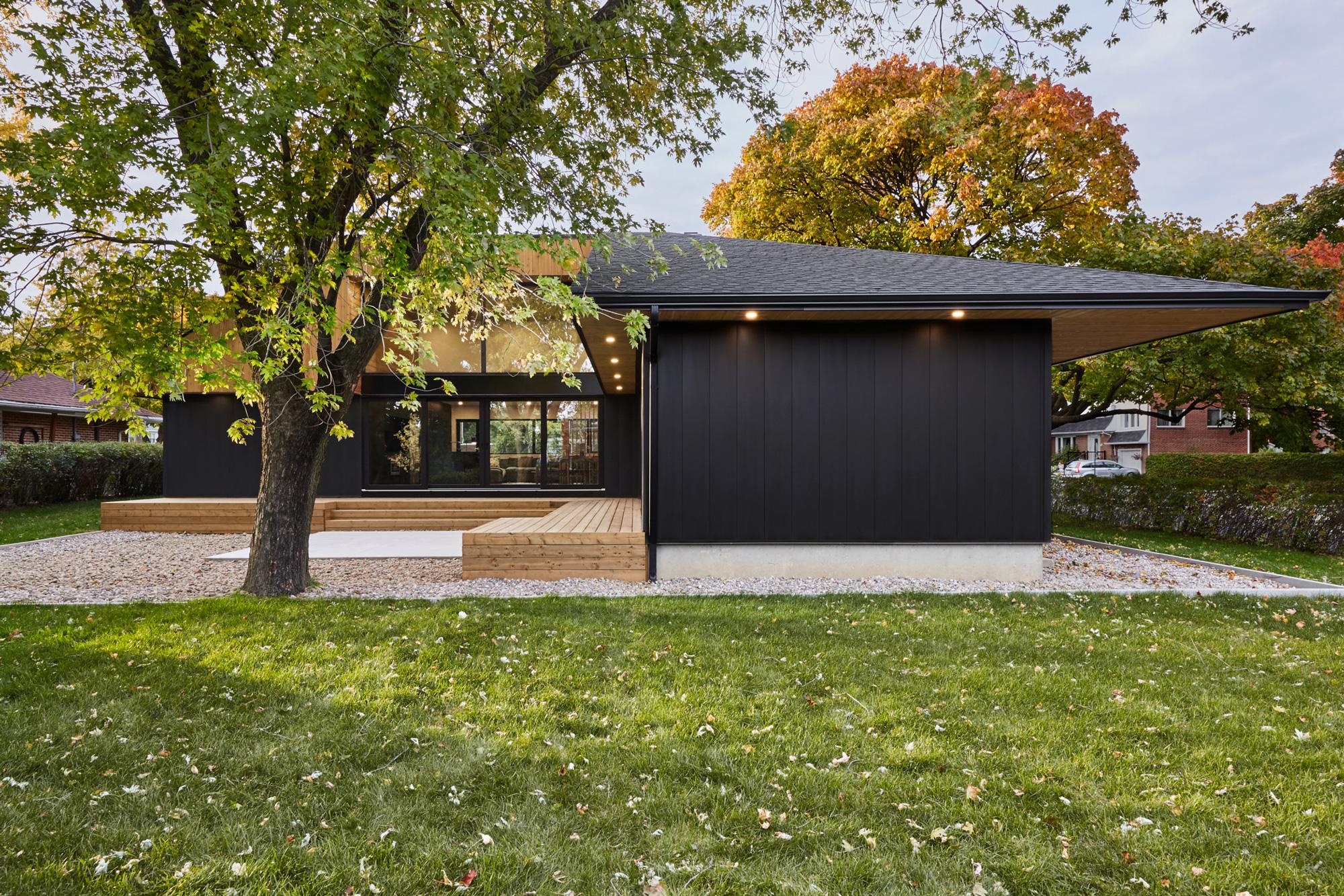 exterieur maison metal bois arbre